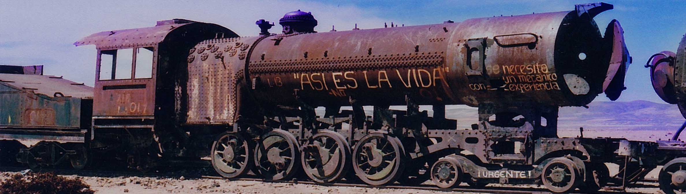 image of train graveyard in bolivia